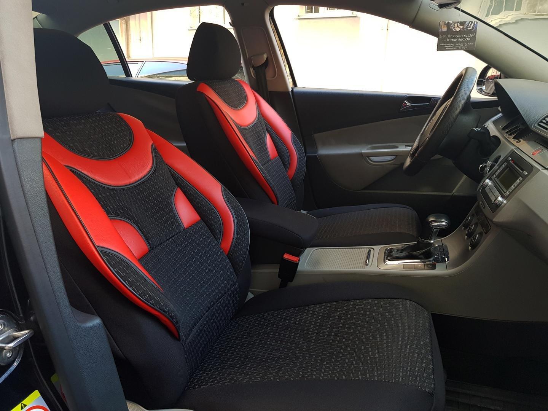 Car seat covers fit Renault Kangoo black//red  leatherette full set