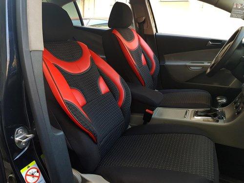 Sitzbezüge Schonbezüge Skoda Octavia IV schwarz-rot V1 Vordersitze