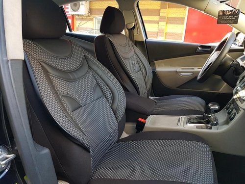 Sitzbezüge Schonbezüge Skoda Octavia IV Combi schwarz-grau V6 Vordersitze