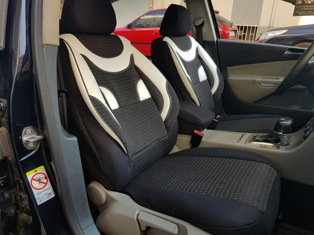 Car Seat Covers Protectors Volvo Xc90 I Black White V4 Front Seats