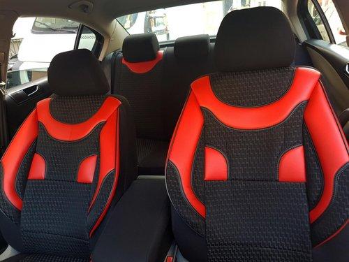 Sitzbezüge Schonbezüge VW Polo(AW) schwarz-rot V1 Vordersitze
