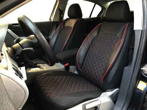 Car seat covers protectors for Vauxhall Vectra B black-red V12 front seats