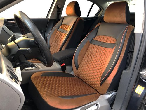 Car seat covers protectors for Skoda Fabia III Estate black-brown V20 front seats