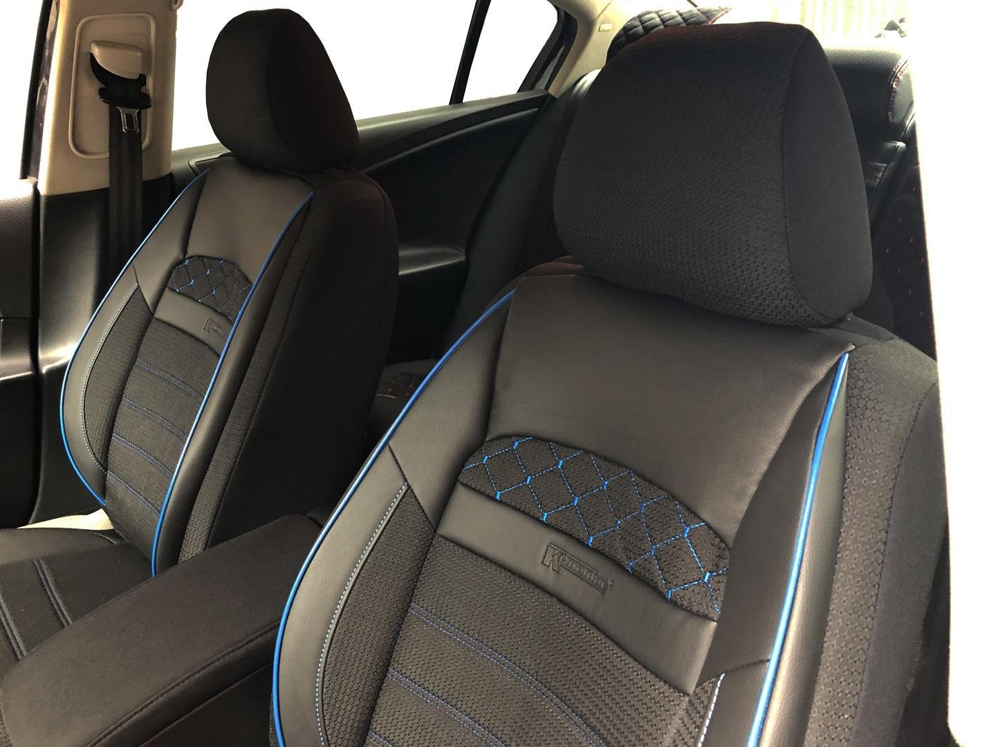 Car Seat Covers Protectors For Suzuki Baleno Black Blue V23 Front Seats