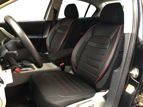 Housses de siége protecteur pour Seat Leon IV noir-rouge V24 siéges avant