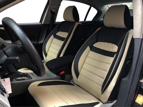 Housses de siége protecteur pour Seat Leon IV noir-beige V25 siéges avant