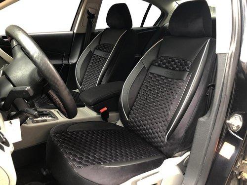 Housses de siége protecteur pour Seat Leon IV noir-blanc V18 siéges avant
