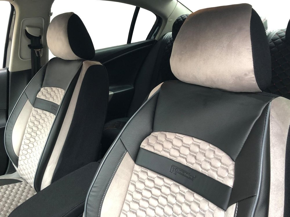 Car Seat Covers Protectors For Volvo Xc90 Ii Black Light Beige V19 Front Seats